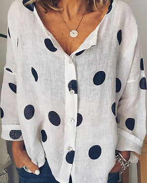Summer Polka Dots Floral-Print Long Sleeve V Neck Cotton Tops