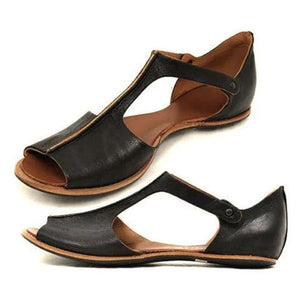 Vintage Black Flat Peep Toe Slip-on Sandals Plus Sizes