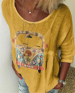 Printed Women Casual Crew Neck Holiday Tops