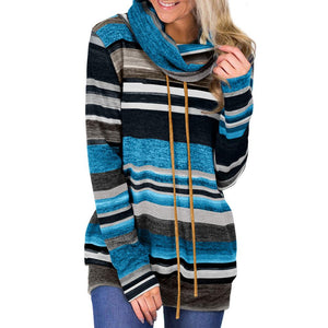 Women Casual Long Sleeve Striped Cowl Neck Sweatshirts Tops With Pocket