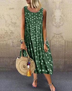 Round Neck Women Summer Dresses Printed Polka Dots Midi Dresses