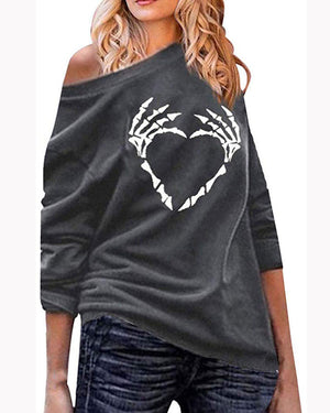 Women's Fashion Long Sleeve Skull Print Casual Loose Sweatshirt Top Plus Size