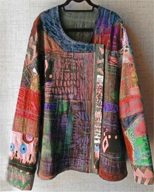 Plus Size Abstract Tops Holiday Fall Daily Casual Blouse