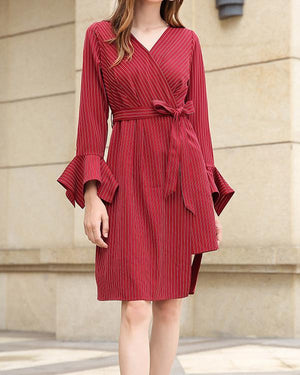 Womens V-neck  Striped Tie Long Sleeve Plus Size Dress