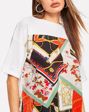Fashion Short Sleeve Crew Neck Contrast Printed Split T Shirts Tops