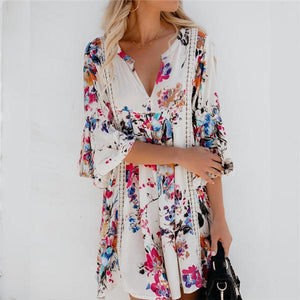 White Floral Bell Sleeve Swing Casual Dresses