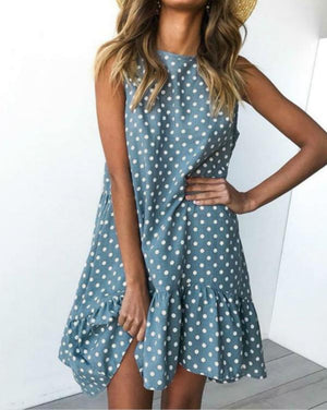 Summer Sweet Crew Neck Polka Dot A-line Mini Dress