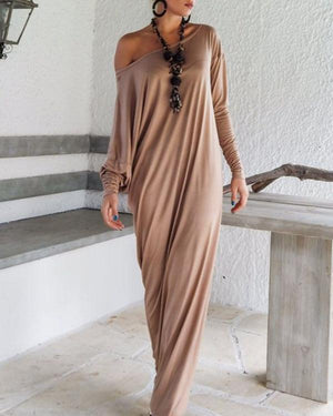 Women Casual Solid Batwing One Shoulder Long Sleeve Dress
