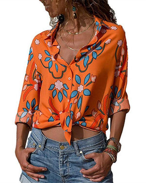 Women Long Sleeve Floral Casual Turn Down Collar Plus Size Blouses Tops