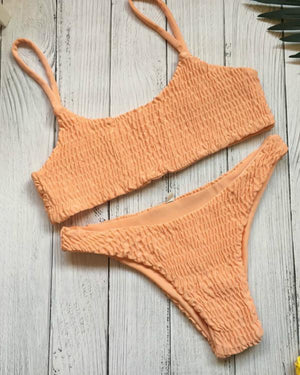 14 Color Simple Smocked Bikini Set