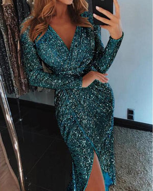 Women Sequined Long Sleeve V-Neck Plus Size Party Dress