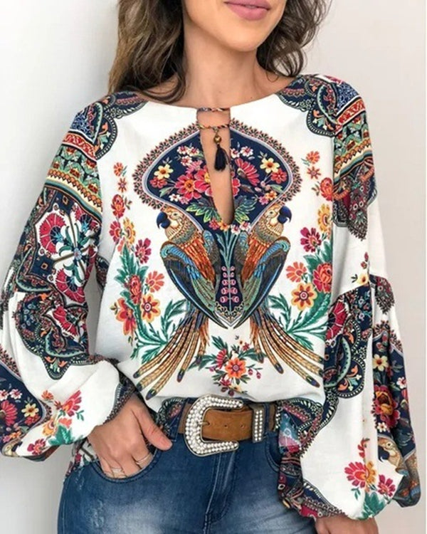 Printed Lantern Sleeve Holiday Fall Daily Casual Blouse