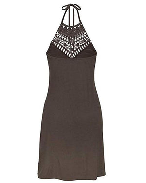Halter Neck Sleeveless Solid Vacation Dresses