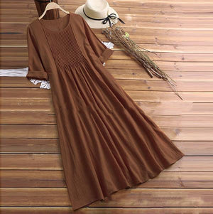 Pleated Solid Color Long Sleeve O-neck Vintage Dresses