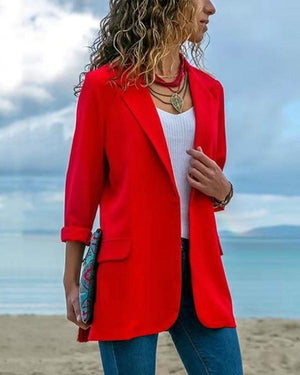 Fashion Lapel Long Sleeve Pocket Blazer Coat