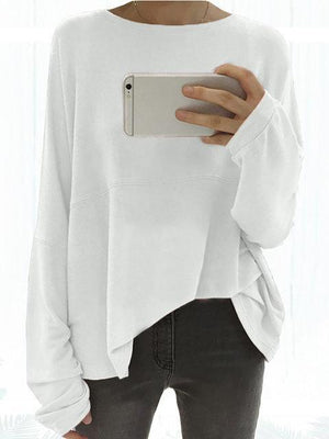 Long Sleeve Solid Elegant Paneled Round Neck Cotton Plus Size Chic Shirts & Blouse
