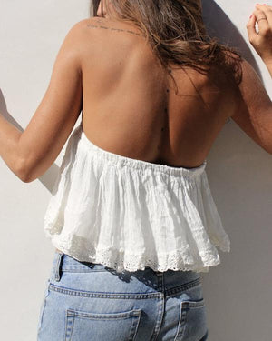 Women Sexy Lace Off Shoulder Sleeveless Tops