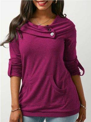 Casual Lapel Button Pure Color Sweatshirts For Women