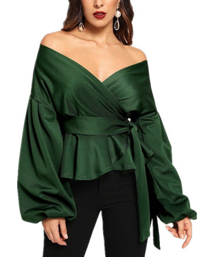 Fashion Lantern Sleeve V Neck Solid Strap Blouses Tops