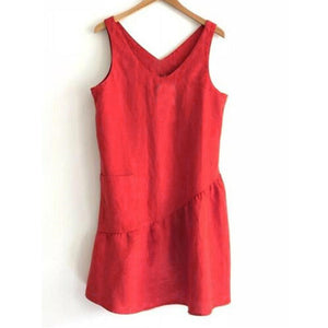V-Neck Stitching Sleeveless Cotton Plus Size Dress