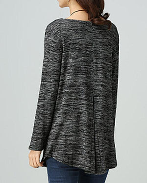 V-Neckline T-shirts Solid Loose Long Sweaters Tops