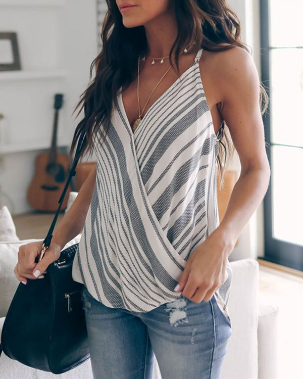 Casual Striped Sleeveless V Neck Vests Tops