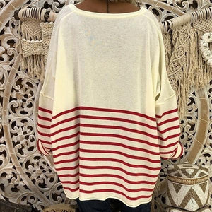 Women Loose Round Neck Print Stitching Long Sleeve Striped Tops
