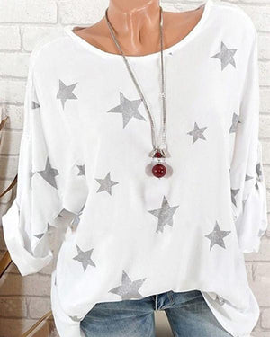 Star Printed Casual Chiffon Long Sleeve Plus Size Blouses
