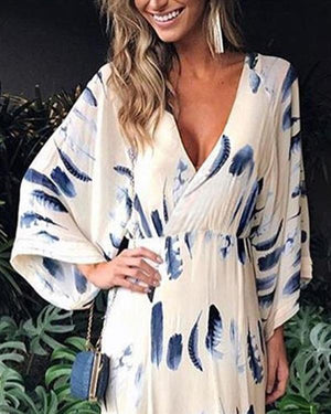 Women Casual Long Sleeve Printed V-Neck Plus Size Vacation Dress