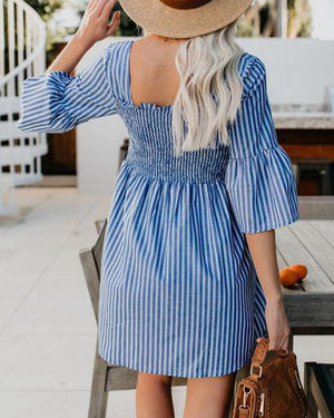 Fashion U Neck Half Sleeve Striped Dress