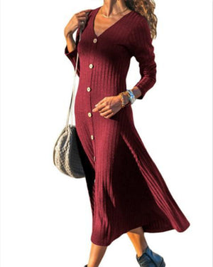 Women Casual V-Neck Long Sleeve Plain Knitting Maxi Dress