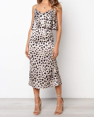 Fashion Dot Print Sling V-neck Dress Set