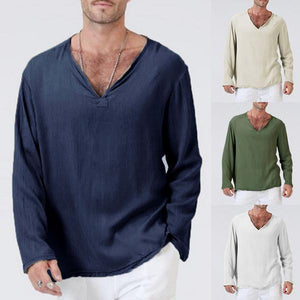 Men's Cotton V-neck Long Sleeve Solid Color Loose Fit Casual Tops