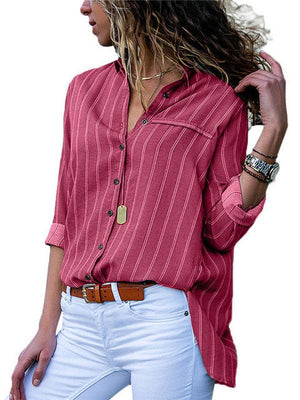 Printed Shirt Collar Long Sleeve Striped Plus Size Blouse