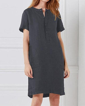 Casual Cotton Short Sleeve Crew Neck Plus Size Dress