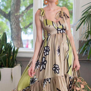 Elegant Stylish Sleeveless Floral Print Maxi Dress