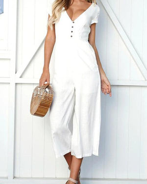 Women Casual Solid Color V Neck Jumpsuits