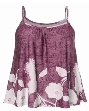 Women Floral Printed Sling Sleeveless Plus Size Tanks Tops