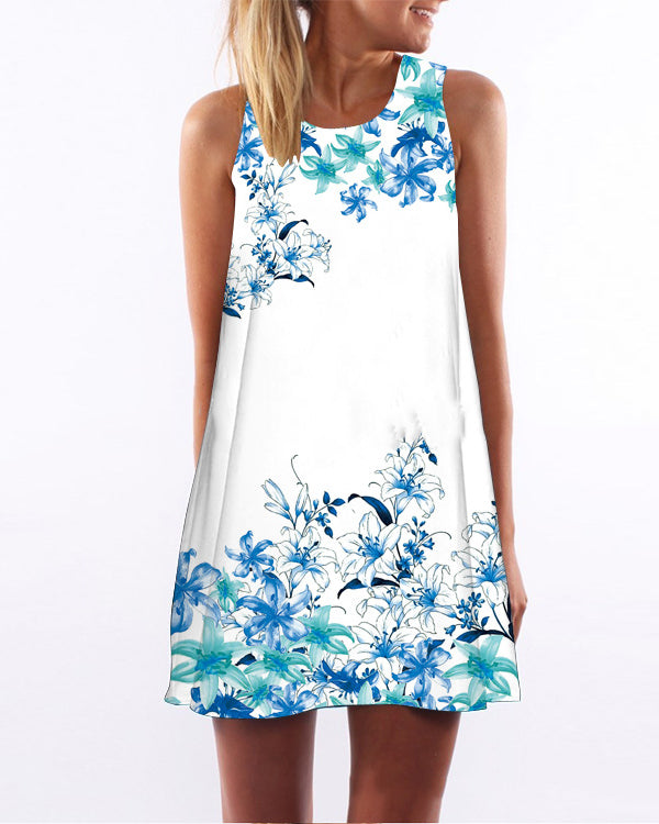 Fashion Floral Printed Vacation Crew Neck Sleeveless Dresses