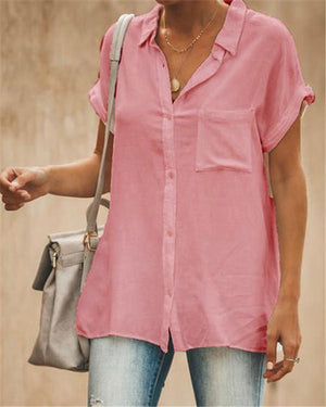 Stand Collar Short Sleeve Solid Color Women Casual Tops