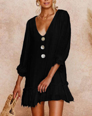 Summer Solid 3/4 Sleeve V-Neck Vacation Mini Dress