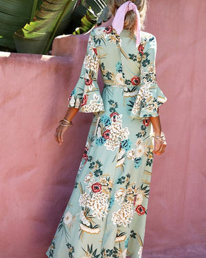 Women's Daily Floral Printed V Neck Chic Maxi Party Dress