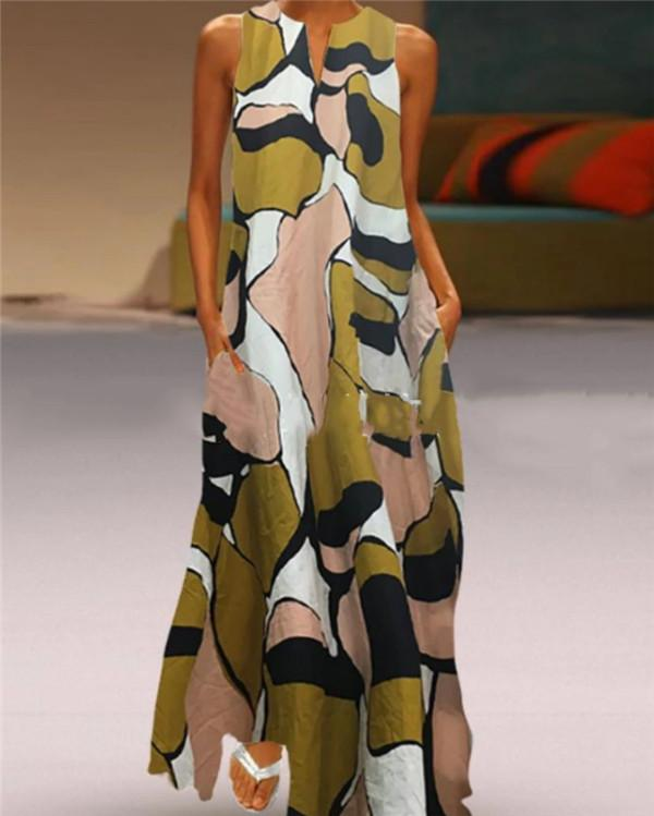 Vintage V Neck Camo Sleeveless Maxi Dresses