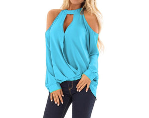 7 Colors Cold Shoulder Halter Blouses For Women