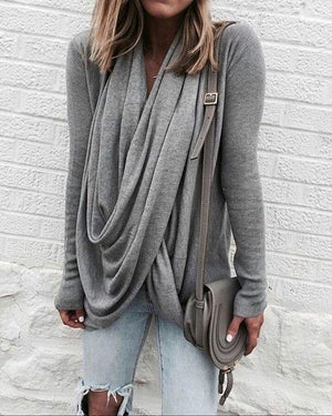 Women Fall Cotton V-neck Plain Sweater