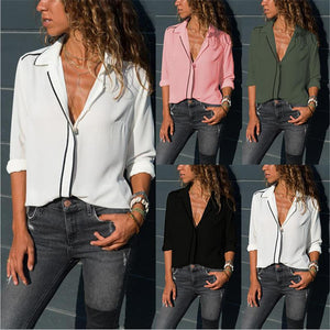 Women Long Sleeve V Neck Lapel Plain Elegant Basic Paneled Blouses Tops