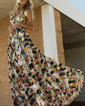 Fashion Vacation Floral Print Sleeveless Maxi Dress