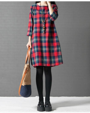 Women Plus Size Casual Crew Neck Long Sleeve Plaid Dress