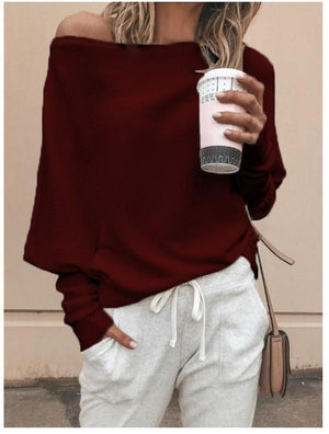 Oblique Neckline Solid Loose Regular Sweaters
