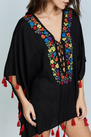 Women Casual V Neck National Style Flower Embroidery Shirts Tops